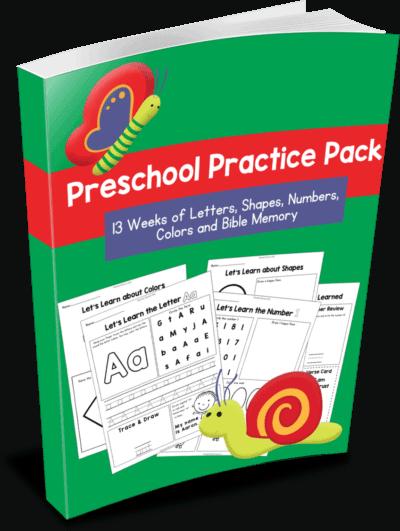 Preschool Practice Pack: 13 Weeks of Letters, Shapes, Numbers, Colors, & Bible Memory