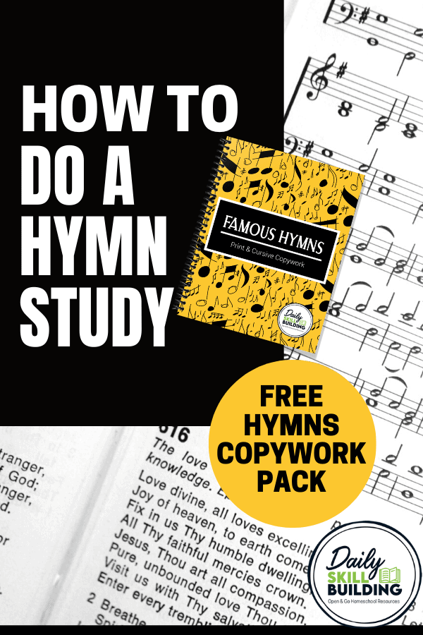 sheet music, hymn copybook, how to do a hymn study text overlay